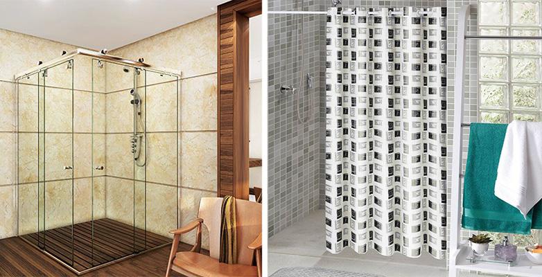 imagem de um banheiro com box de vidro e outro banheiro com cortina
